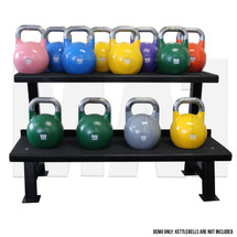 2 Tier Kettlebell Rack with Pro Grade Kettlebells