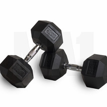 Rubber Covered Hex Dumbbell with Chrome Solid Steel Handle - 25kg