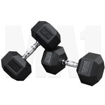 MA1 Rubber Hex Dumbbells - 27.5kg (Pair)