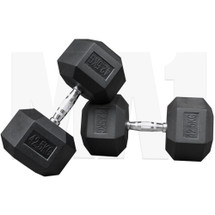 MA1 Rubber Hex Dumbbells - 42.5kg (MAP-DBRH-42.5x2)