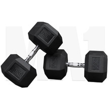 MA1 Rubber Hex Dumbbells - 50kg (MAP-DBRH-50x2)