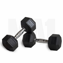 10kg Rubber Covered Hex Dumbbell - Pair