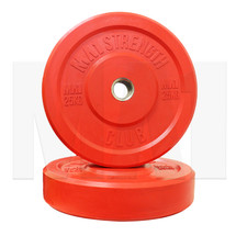25kg Coloured Rubber Bumper Plate (pair) - Red