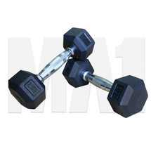 Rubber Covered Hex Dumbbell with Chrome Solid Steel Handle - 2.5kg