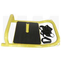 Yellow Gym Sled with Push Handle and Pulley Rope