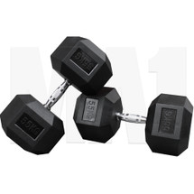 MA1 Rubber Hex Dumbbells - 55kg (Pair) (MAP-DBRH-55x2)