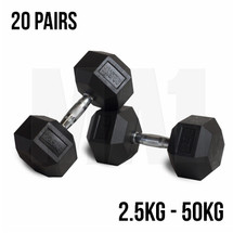 Rubber Hex Dumbbell Set 2.5 - 50
