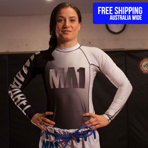 MA1 White Long Sleeve Rash Guard - FREE SHIPPING AUSTRALIA WIDE