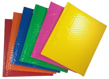 Shiny Shippers Color Bubble Mailers Envelopes Red Bubble Mailers, Yellow Bubble Mailers, Green Bubble Mailers, Blue Bubble Mailers, Orange Bubble Mailers & Lipstick Pink Bubble Mailers