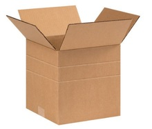 "9"" x 9"" x 9"" (200#/ECT-32) Multi-Depth Kraft Corrugated Cardboard Shipping Boxes"