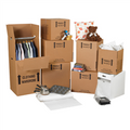 Small Home Moving Kit Packaging Supplies; Wardrobe Boxes, Hanger Bars, Boxes, Bubble Dispenser Pack, Newsprint Sheets, Clear Carton Sealing Tape, Pistol Grip Tape Dispenser