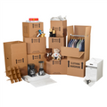 Deluxe Home Moving Kit Packaging Supplies; Wardrobe Boxes, Hanger Bars, Boxes, Bubble Dispenser Pack, Newsprint Sheets, Clear Carton Sealing Tape, Pistol Grip Tape Dispenser
