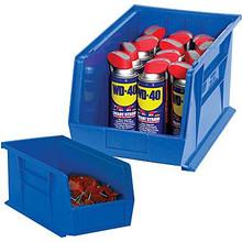 "5 3/8"" x 4 1/8"" x 3"" Blue  Plastic Stack & Hang Bin Boxes - Fits 5 3/8"" Shelf"