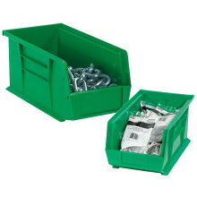 "5 3/8"" x 4 1/8"" x 3"" Green  Plastic Stack & Hang Bin Boxes - Fits 5 3/8"" Shelf"