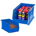 "7 3/8"" x 4 1/8"" x 3"" Blue  Plastic Stack & Hang Bin Boxes - Fits 7 3/8"" Shelf"