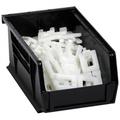 "7 3/8"" x 4 1/8"" x 3"" Black  Plastic Stack & Hang Bin Boxes - Fits 7 3/8"" Shelf"