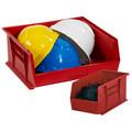 "9 1/4"" x 6"" x 5"" Red Plastic Stack & Hang Bin Boxes - Fits 9 1/4"" Shelf"