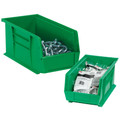 "9 1/4"" x 6"" x 5"" Green Plastic Stack & Hang Bin Boxes - Fits 9 1/4"" Shelf"