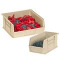 "9 1/4"" x 6"" x 5"" Ivory Plastic Stack & Hang Bin Boxes - Fits 9 1/4"" Shelf"