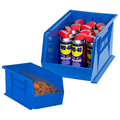 "10 7/8"" x 4 1/8"" x 4"" Blue Plastic Stack & Hang Bin Boxes - Fits 10 7/8"" Shelf"