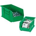 "10 7/8"" x 4 1/8"" x 4"" Green Plastic Stack & Hang Bin Boxes - Fits 10 7/8"" Shelf"
