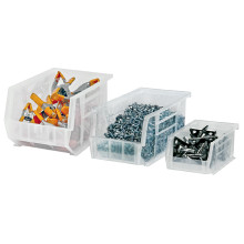 "10 7/8"" x 11"" x 5"" Clear Plastic Stack & Hang Bin Boxes - Fits 10 7/8"" Shelf"