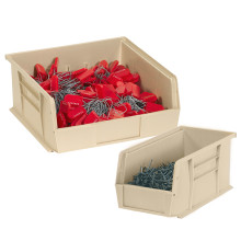 "14 3/4"" x 5 1/2"" x 5"" Ivory Plastic Stack & Hang Bin Boxes - Fits 14 3/4"" Shelf"