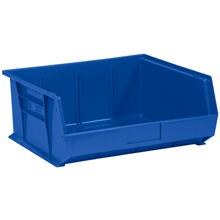 "14 3/4"" x 16 1/2"" x 7"" Blue  Plastic Stack & Hang Bin Boxes - Fits 14 3/4"" Shelf"