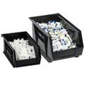 "16"" x 11"" x 8"" Black Plastic Stack & Hang Bin Boxes - Fits 16"" Shelf"