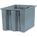"17"" x 14 1/2"" x 12 7/8"" Gray Stack & Nest Containers"