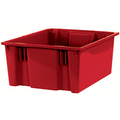 "20 7/8"" x 18 1/4"" x 9 7/8"" Red Stack & Nest Containers"