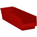 "17 7/8"" x 4 1/8"" x 4"" Red  Plastic Shelf Bin Boxes"
