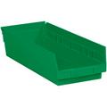 "17 7/8"" x 6 5/8"" x 4"" Green  Plastic Shelf Bin Boxes"