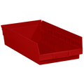"17 7/8"" x 11 1/8"" x 4"" Red  Plastic Shelf Bin Boxes"