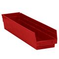"23 5/8"" x 4 1/8"" x 4"" Red  Plastic Shelf Bin Boxes"