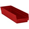 "23 5/8"" x 6 5/8"" x 4"" Red  Plastic Shelf Bin Boxes"
