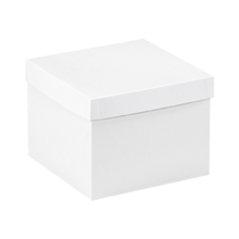 "8"" x 8"" x 6"" White  Deluxe Gift Box Bottoms 50/Case"