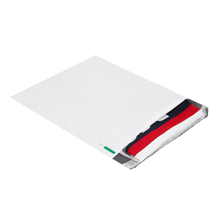 Expansion Poly Courier Mailers White Flat Self Seal Envelopes
