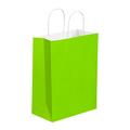Citrus Green Tinted White Paper Shopping Bags with Twisted Paper Handles