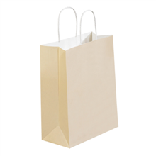 French Vanilla Tinted White Paper Shopping Bags with Twisted Paper Handles