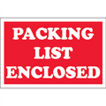 """Packing List Enclosed"" Red Shipping and Handling Labels"