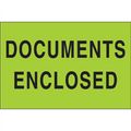 """Documents Enclosed"" (Fluorescent Green) Shipping and Handling Labels"