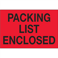 """Packing List Enclosed"" (Fluorescent Red) Shipping and Handling Labels"