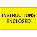 """Instructions Enclosed"" (Fluorescent Yellow) Shipping and Handling Labels"