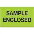 """Sample Enclosed"" (Fluorescent Green) Shipping and Handling Labels"