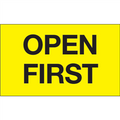 """""""Open First"""" (Fluorescent Yellow) Shipping and Handling Labels"""