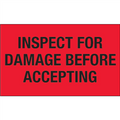"""""""Inspect For Damage Before Accepting"""" (Fluorescent Red) Shipping and Handling Labels"""