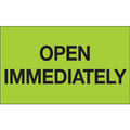 """""""Open Immediately"""" (Fluorescent Green) Shipping and Handling Labels"""