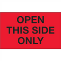 """""""Open This Side Only"""" (Fluorescent Red) Shipping and Handling Labels"""