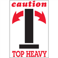"""""""Caution - Top Heavy"""" Arrow Shipping and Handling Labels"""